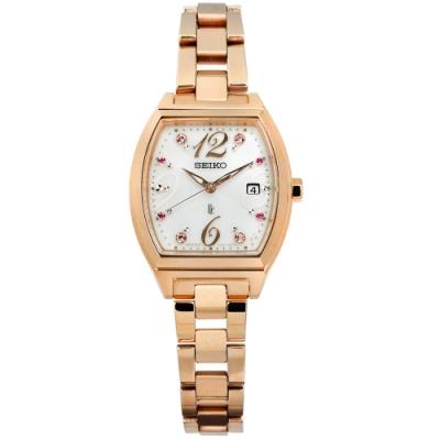 SEIKO 精工 LUKIA 限量 太陽能 藍寶石水晶 不鏽鋼手錶-銀x鍍玫瑰金/26mm