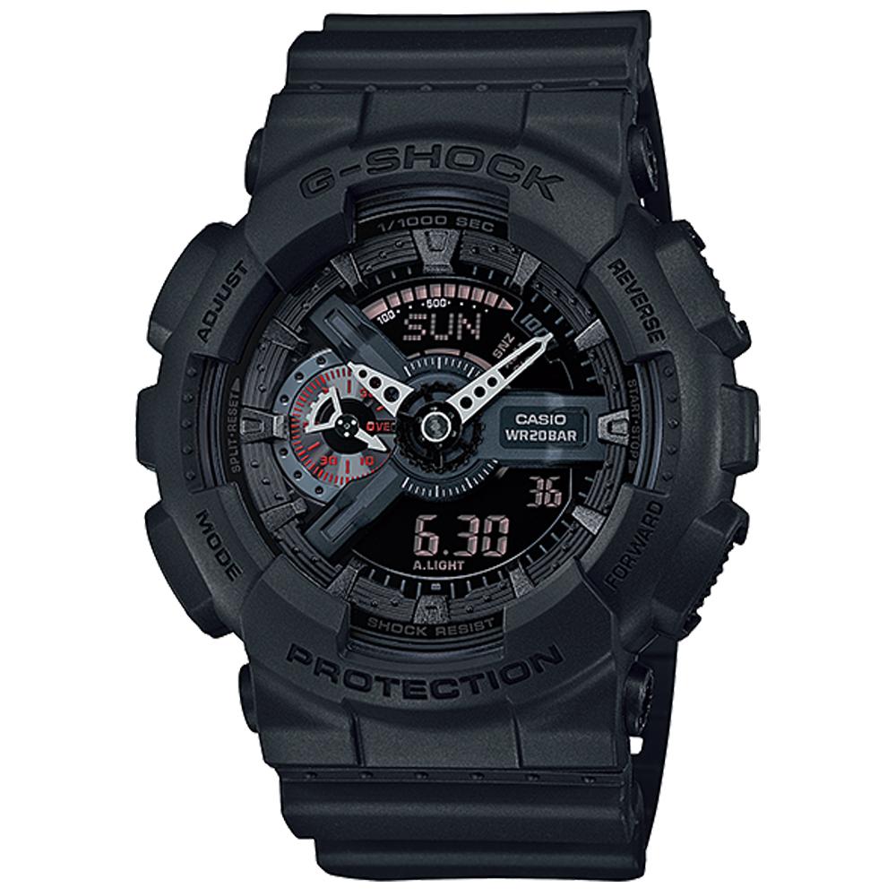CASIO G-SHOCK街頭玩酷型男雙顯運動錶(GA-110MB-1A)-黑x52mm