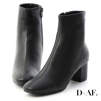D+AF 俐落印象.素面車線中跟短靴*黑