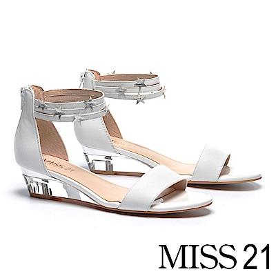 涼鞋 MISS 21 率性街頭潮流星星繫帶牛皮楔型涼鞋-白