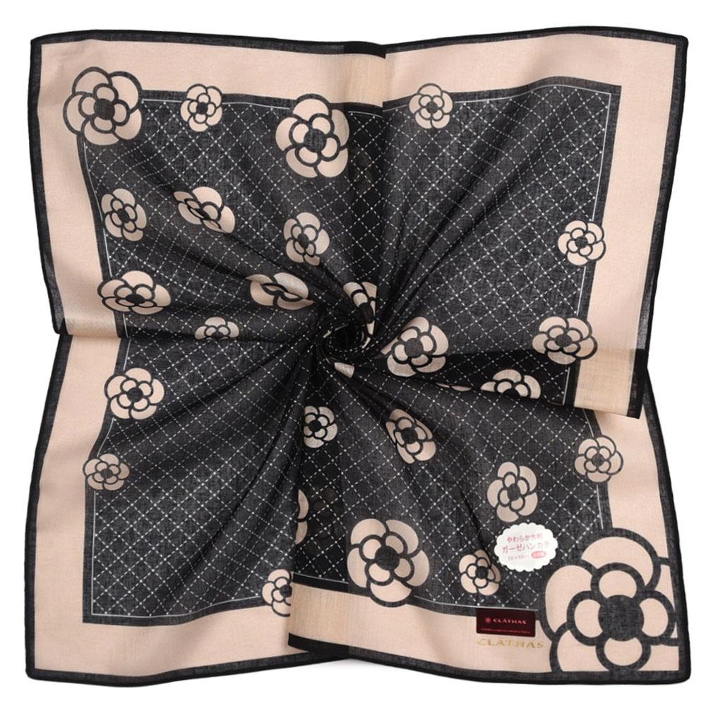 CLATHAS山茶花虛線格紋燙金LOGO純綿帕巾領巾-黑色