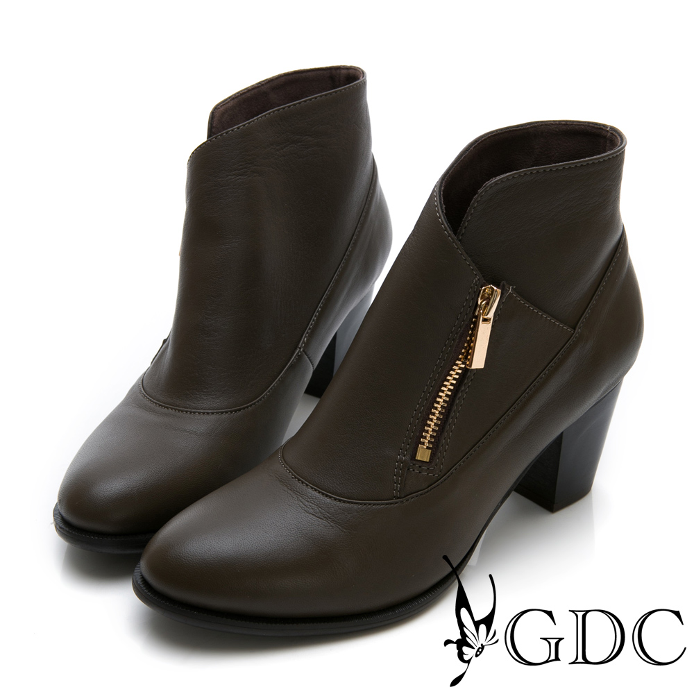 GDC-真皮設計感歐美風側拉鍊短踝靴-咖色