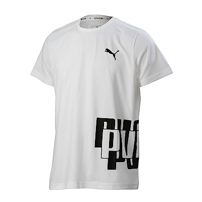 PUMA-男性基本系列Modern Sports印花短袖T恤-白色-亞規
