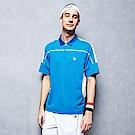 FILA 男款抗UV吸濕排汗POLO衫-藍綠1POT-1003-TQ