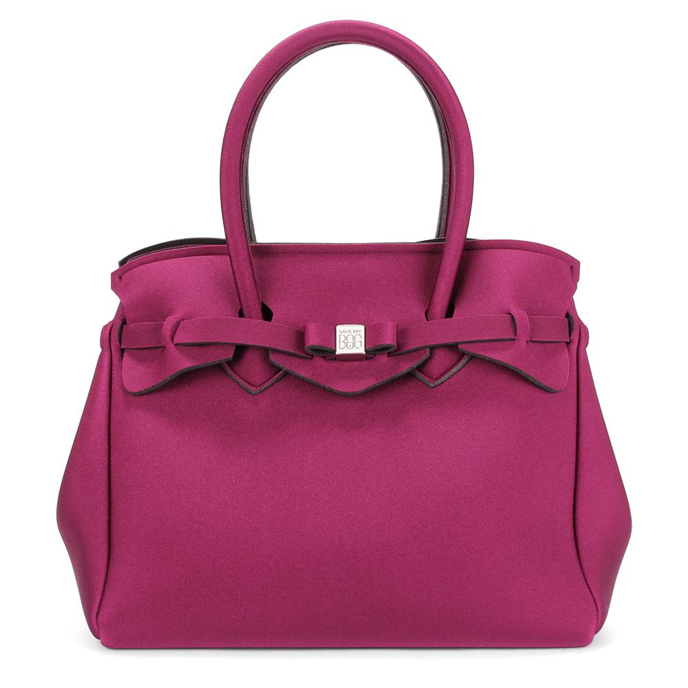 SAVE MY BAG Miss金屬光系列簡約輕量防水托特包-酒紅色