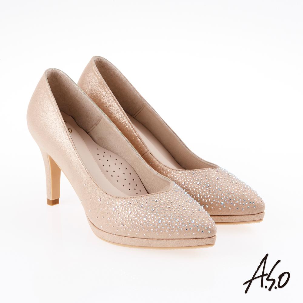 A.S.O 炫麗魅惑 優雅側V金蔥水鑽高跟鞋 金