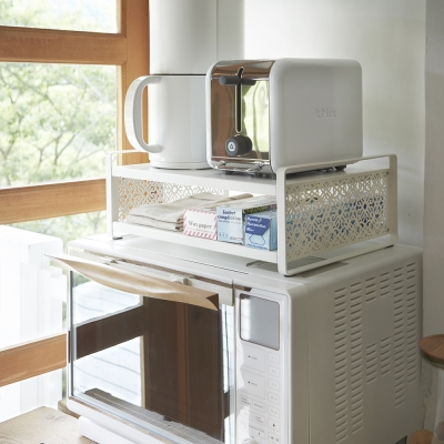 【YAMAZAKI】Kirie典雅雕花儲物層架-白★微波爐架/置物架/居家收納