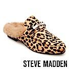 STEVE MADDEN-KHLOE 毛絨低跟穆勒鞋-豹紋