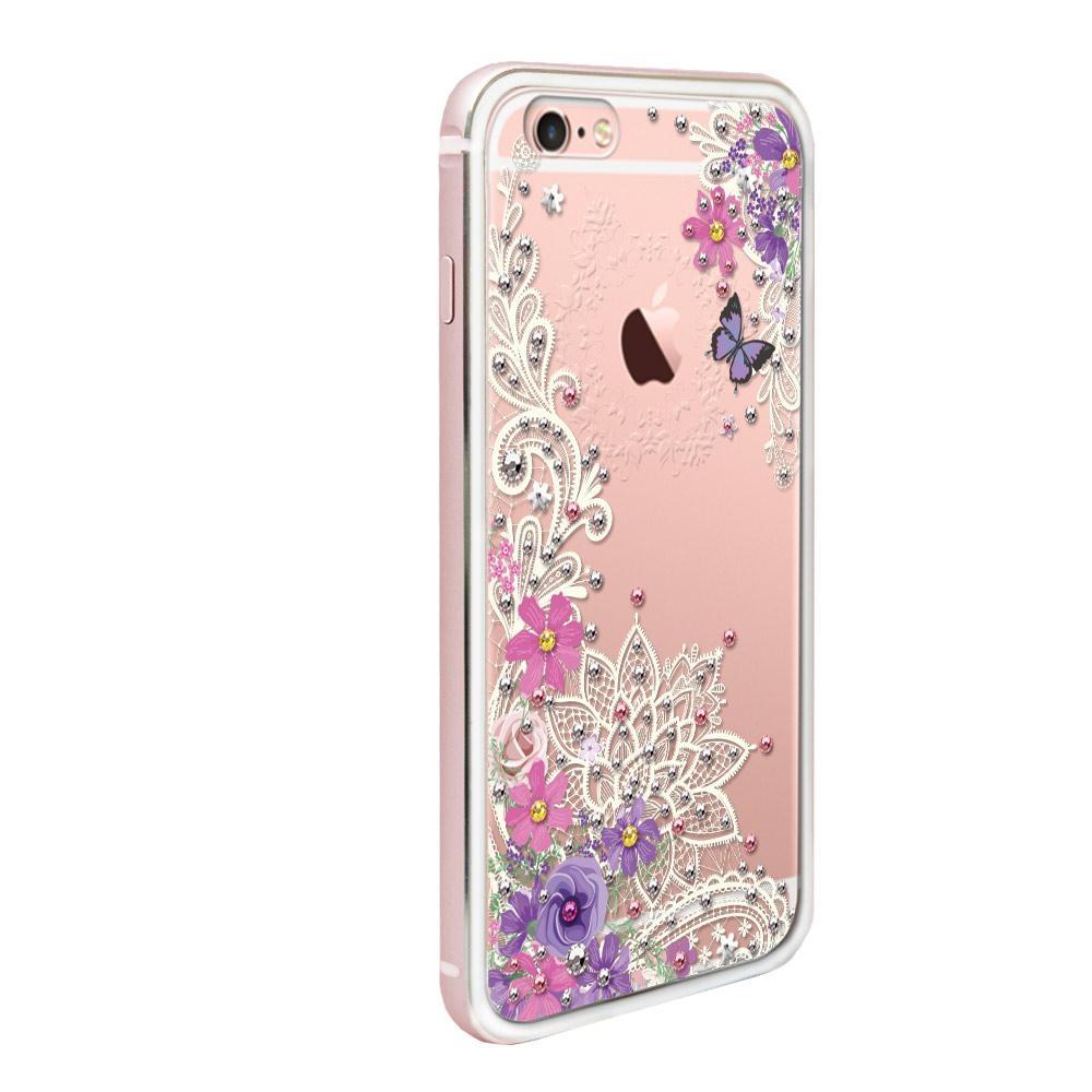 apbs iPhone6s / 6 4.7吋施華彩鑽鋁合金屬框手機殼-玫瑰金蕾絲花