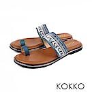 KOKKO -漫步海島旅行平底指環涼鞋 - 熱帶藍
