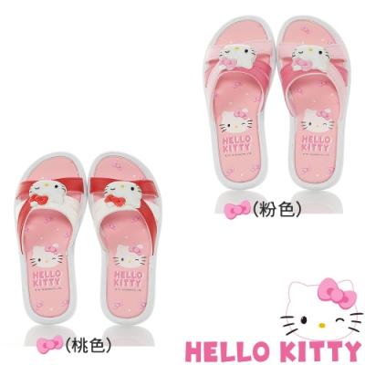Hello Kitty童鞋 蝴蝶結系列 輕量減壓拖鞋-白紅.桃