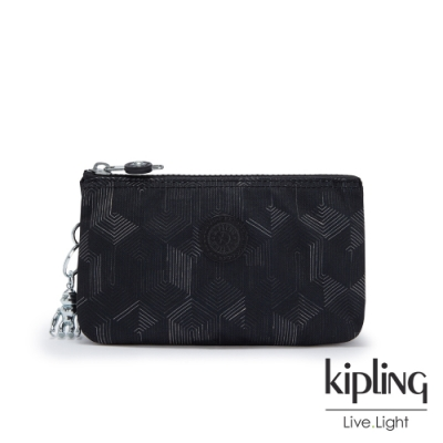 Kipling 幾何圖騰黑三夾層配件包-CREATIVITY L