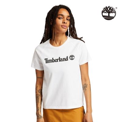 Timberland 女款白色有機棉LogoT恤 A23MT100