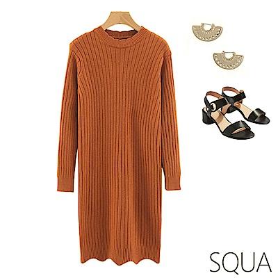 SQUA 直坑條紋針織洋裝-二色