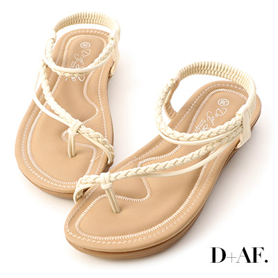D+AF 假期氛圍.麻辮斜編織平底涼鞋*米白