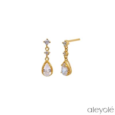 ALEYOLE 天使之淚925純銀鍍18K金鋯石耳環 BLISS GOLD