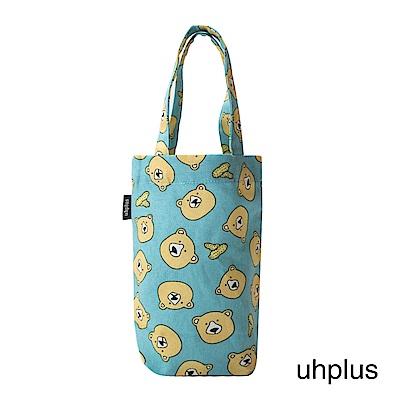 uhplus Love Life 隨行環保飲料袋(長版)- 花生熊(藍綠)