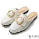 DIANA 2.5 cm俏麗牛皮金屬圓環樂福穆勒鞋–漫步雲端焦糖美人-米 product thumbnail 1