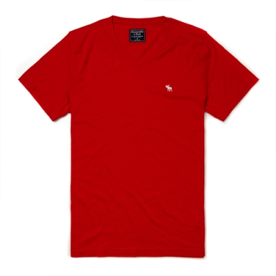麋鹿 AF A&F 經典V領電繡麋鹿素面短袖T恤(BONL)-紅色