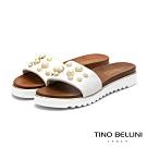 Tino Bellini義大利進口金屬珍珠厚底拖鞋_白