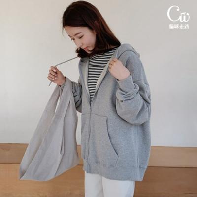 [CW.貓咪走路]韓版素面馬卡龍色連帽衛衣外套(簡約/百搭/KDC-8591)