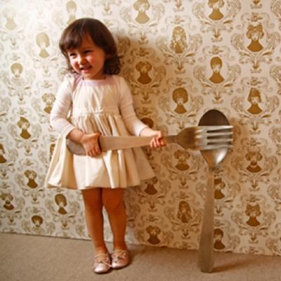 MARLMARL兒童用餐圍裙 女孩/米白(KIDS 100-110cm)