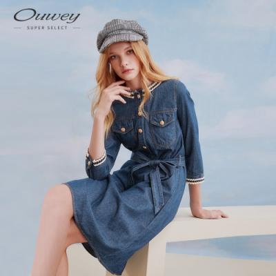 OUWEY歐薇 小香風休閒感牛仔連身洋裝(藍)