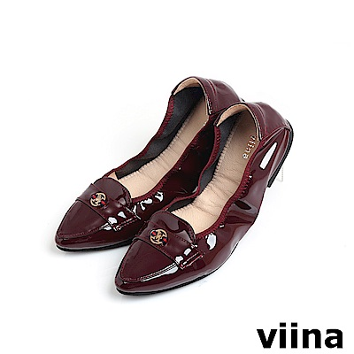 viina 尖頭織帶小LOGO摺疊鞋MIT - 酒紅