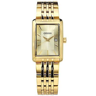 CITIZEN 經典復古日本機芯日期不鏽鋼手錶-鍍金/26mm