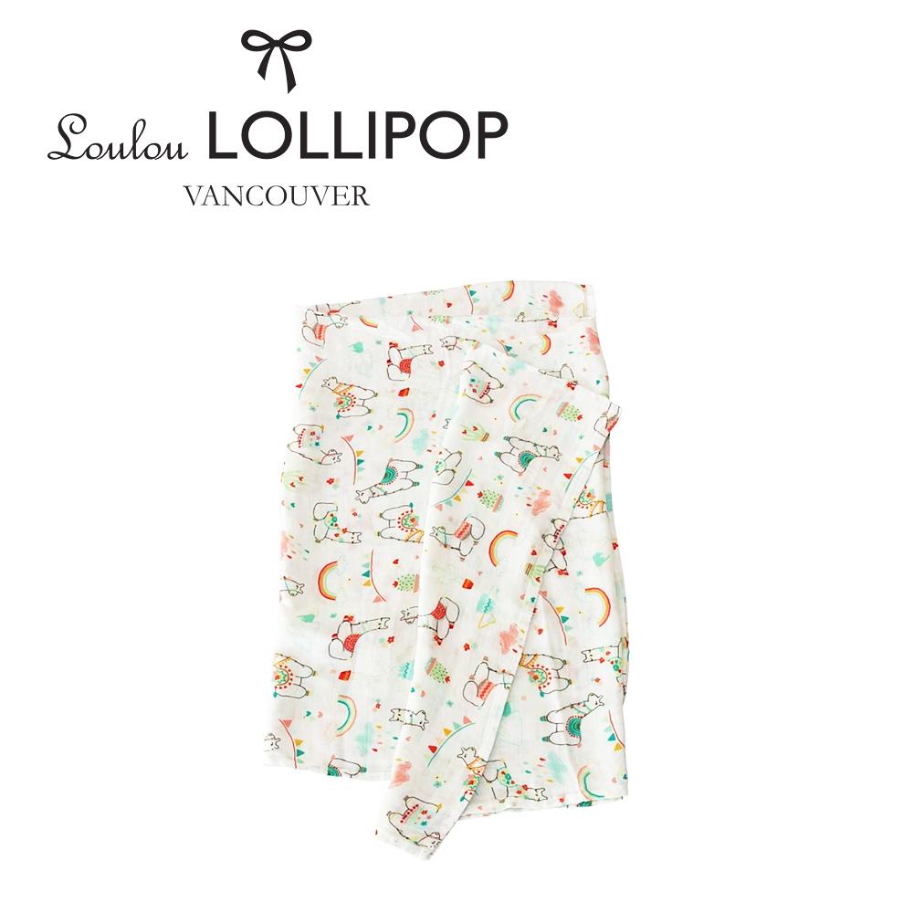 加拿大Loulou lollipop 竹纖維透氣包巾120x120cm-彩虹草泥馬