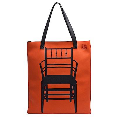 LOEWE 威廉莫里斯座椅圖飾小牛皮肩背托特包(亮橘X黑)