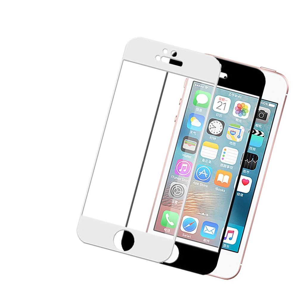 iPhone 5/5s/SE 軟邊 碳纖維 透明 滿版玻璃膜 保護貼