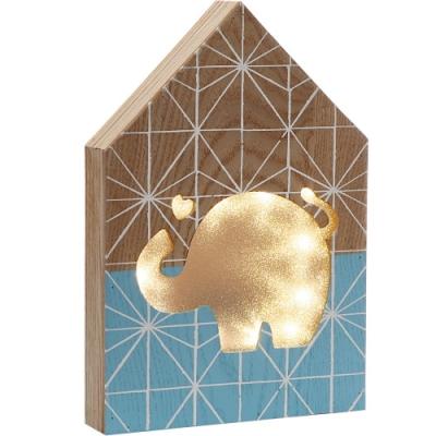 《VERSA》木質房屋燈飾(藍大象)