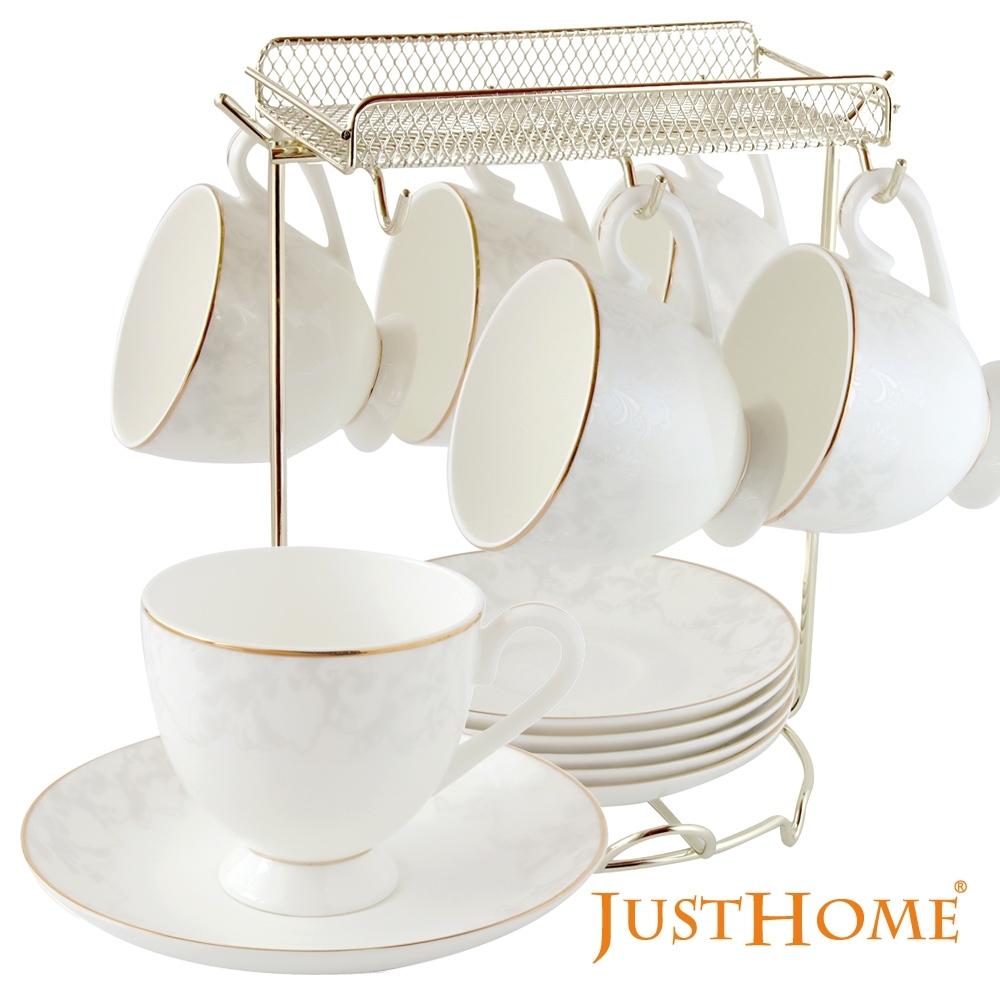 Just Home維洛卡高級骨瓷6入咖啡杯盤組附收納架(附禮盒)