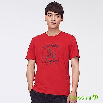 bossini男裝-印花短袖T恤39紅