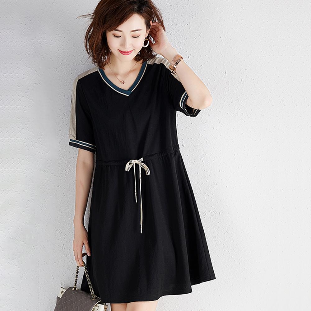 初色  V領拼色條紋短袖連身裙-黑色-(M-2XL可選)
