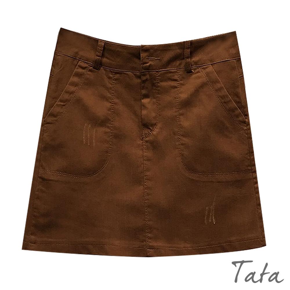微刷破A字短褲裙 共二色 TATA