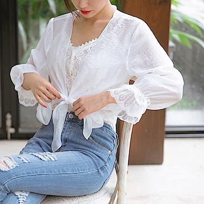 氣質透膚袖口拼接蕾絲設計綁帶罩衫-OB大尺碼