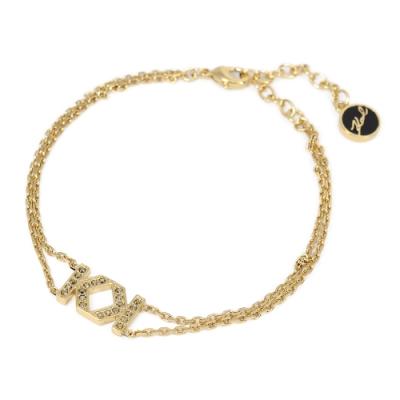 Karl Lagerfeld DOUBLE K璀璨水晶金色手環手鍊