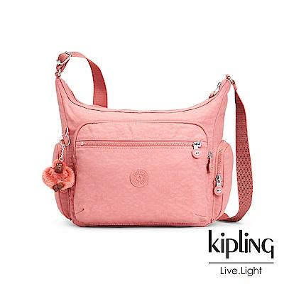 Kipling薔薇粉多袋實用側背包(大)
