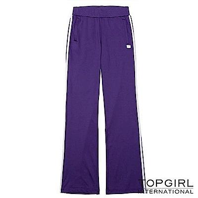 【TOP GIRL】率性滾邊運動針織長褲-深情紫