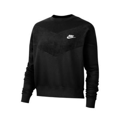 Nike T恤 NSW Swoosh Top 女款 運動休閒 大學T 圓領 燈心絨 異材質 黑 白 CZ1877010