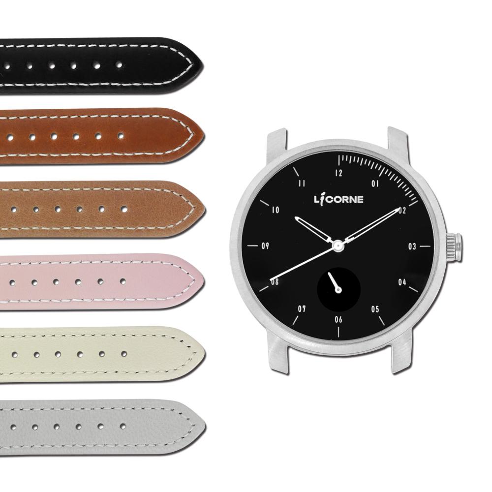 LICORNE力抗  MYO 藍寶石玻璃 可替換自由搭配真皮手錶-黑白色/38mm