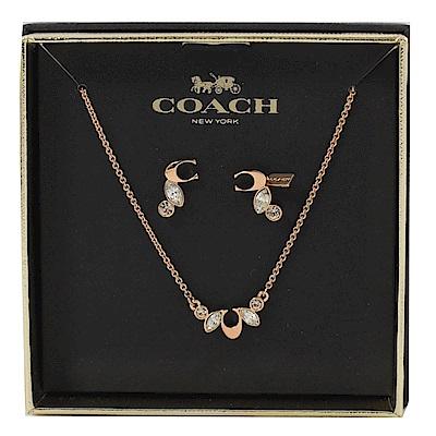 COACH C字LOGO造型水鑽項鍊耳環組(玫瑰金色)