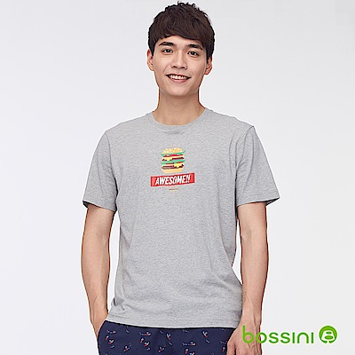 bossini男裝-印花短袖T恤37淺灰