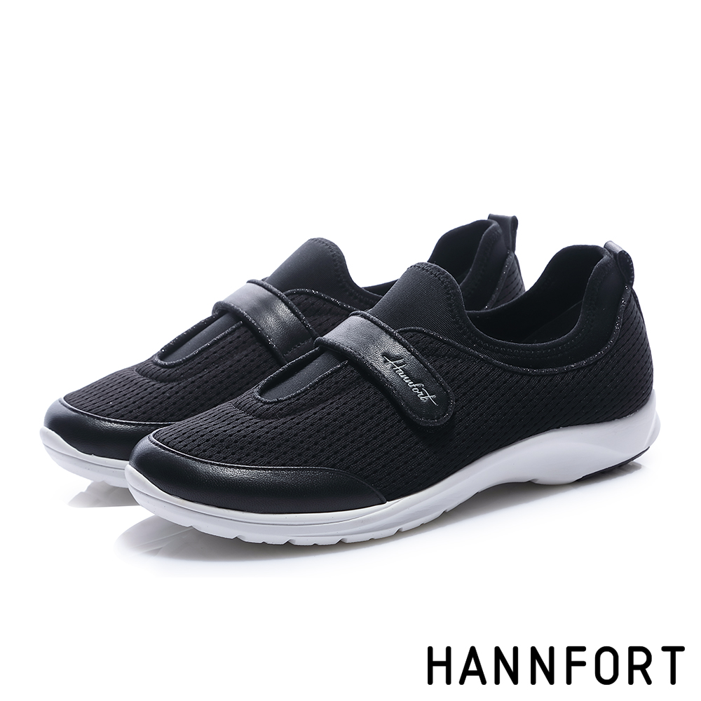 HANNFORT EASY WALK質感鑽砂氣墊健走鞋-女-晶亮黑
