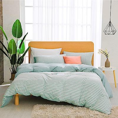 鴻宇 雙人加大床包薄被套組 精梳棉針織 水水綠M2622