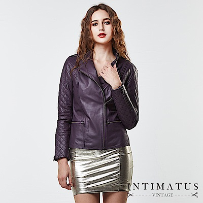 INTIMATUS 真皮 華麗菱格紋拼接立領小羊皮皮衣 紫羅蘭