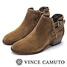 VINCE CAMUTO 西部感編織金屬扣中跟踝靴-絨棕