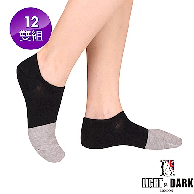 LIGHT & DARK  MIT製細針加大竹炭短襪(回饋12雙組)